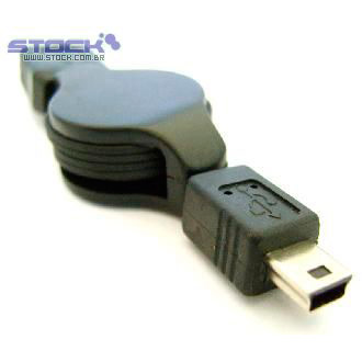Cabo USB Câmera A Macho x Mini-M 5 Pinos Retrátil 1.50m Preto