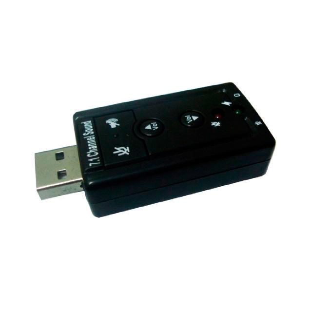 Adaptador-USB-com-Saídas-de-Audio-e-Fone-Preto