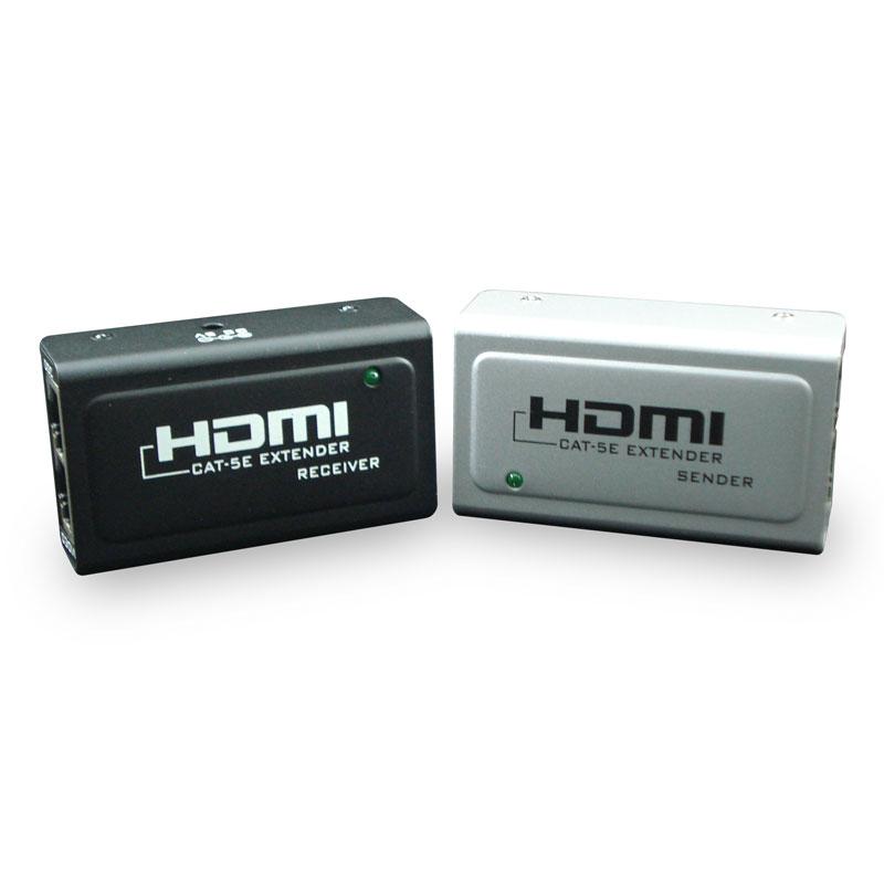 Adaptador-Extensor-HDMI-Fêmea-para-RJ45-Fêmea-Cinza--Preto