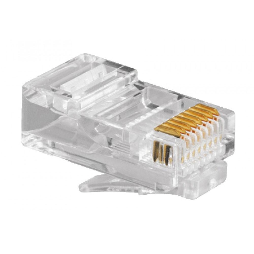 Modular Plug 8 Vias x 8 Contatos 6U RJ45 Incolor