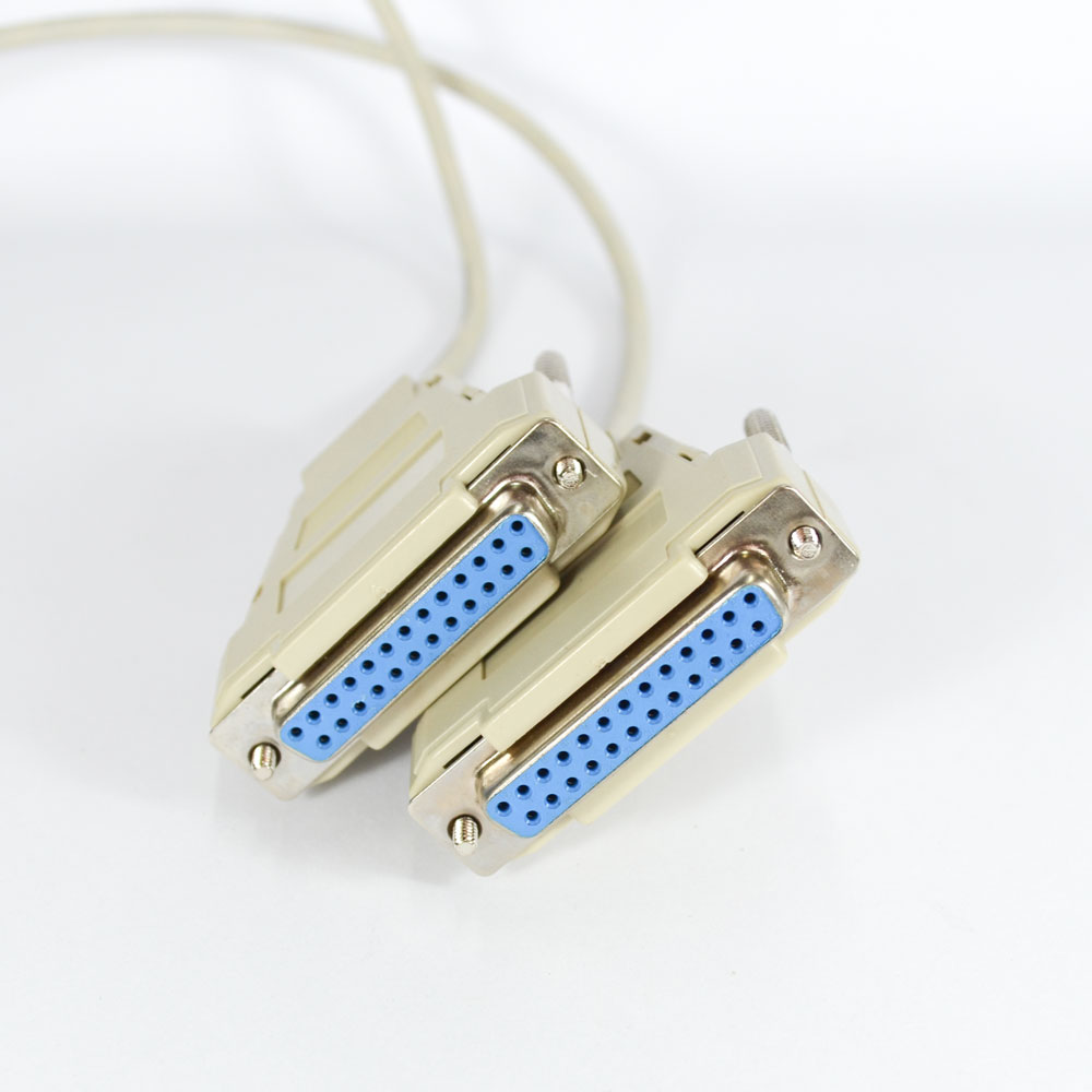 Cabo-Lap-Link-Serial-7-Contatos-DB25-Fêmea-x-DB25-Fêmea-300m-Cinza