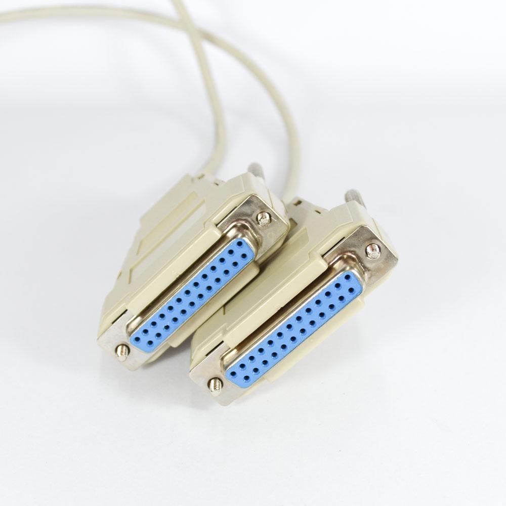 Cabo-Lap-Link-Serial-7-Contatos-DB25-Fêmea-x-DB25-Fêmea-500m-Cinza